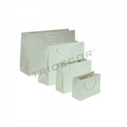 Bolsa de papel plastificado con asa cordón,25+9x20cm,color blanco, 12 unidades