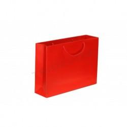 Bolsa de papel plastificado con asa cordón,25+9x20cm,color rojo, 12 unidades