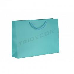Bolsa de papel plastificado con asa cordón,25+9x20cm,color azul, 12 unidades