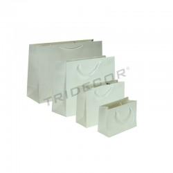 Bolsa de papel plastificado con asa cordón,44+14x32cm,color blanco, 12 unidades