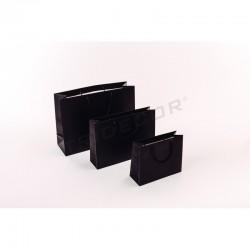 Bolsa de papel plastificado con asa cordón,44+14x32cm,color negro, 12 unidades