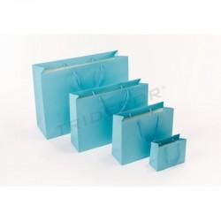 Bolsa de papel plastificado con asa cordón,44+14x32cm,color azul, 12 unidades