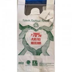 Bolsas de plástico reciclado asa camiseta 50x60 cm Blanco
