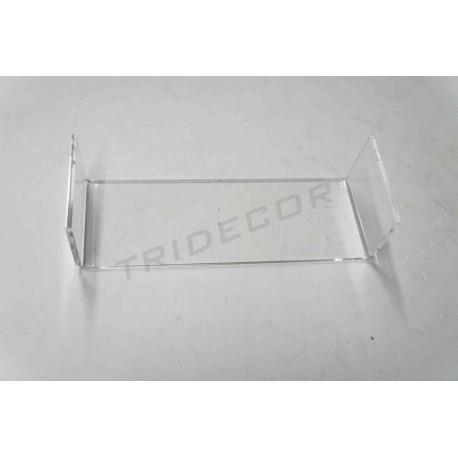 Expositor acrílico transparente en forma C. Medidas: 20.5x7x5.5 cm