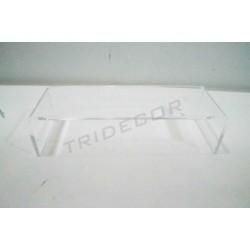 Expositor claro acrílico en forma C. Acción: 20.5x7x5.5 cm