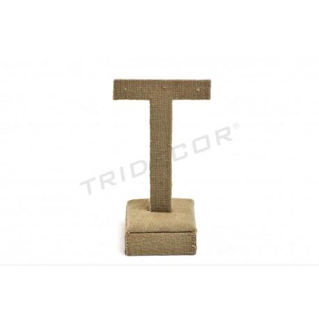 Expositor T para pendientes, lino grueso, tridecor