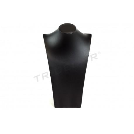 Expositor joyería para collares, de base rectangular. Polipiel negra, tridecor