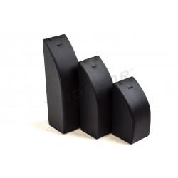 Expositor joyería para conjunto, 3 alturas, polipiel negra, tridecor