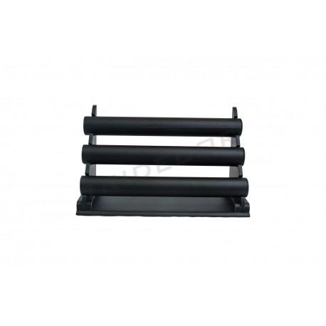 Expositor para pulseras, polipiel negro, 3 alturas, tridecor