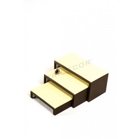Expositor joyería forma C a 3 alturas, polipiel vainilla y chocolate, tridecor