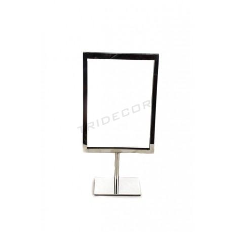009729 Portacarteles A5 de acero cromado. Tridecor