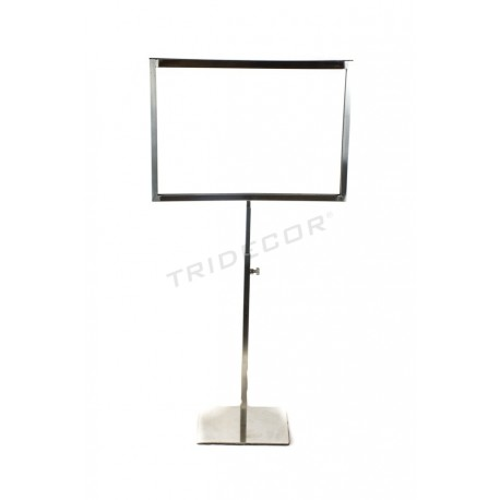 009845 Portacarteles A4 matte steel, adjustable in height. Tridecor