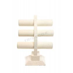 Expositor triple de pulseras, lino beige 32x26x23 cm, tridecor