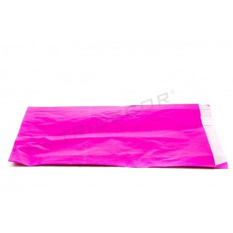 Sobre de papel celulosa fucsia 18x29+3.5 cm. 100 uds. tridecor