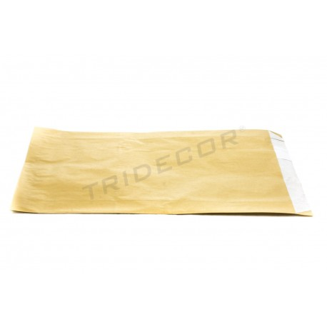 Sobre de papel celulosa oro, 18x29+3.5 cm. 100 uds. tridecor
