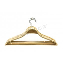 HANGER PLYWOOD WITH BAR AND NON-SLIP SILICONE 45 CM 5 UNITS