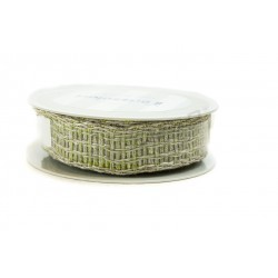 RIBBON YARN BEIGE AND GREEN 30 MTS