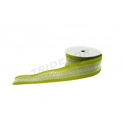 FABRIC TAPE-DE-SAC, LIGHT GREEN WITH LACE 9 M