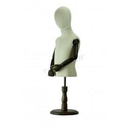 Busto regulable infantil con cabeza, brazos articulados, tridecor