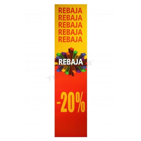 Cartel rebaja, vertical, 20%. Color rojo y amarillo, tridecor