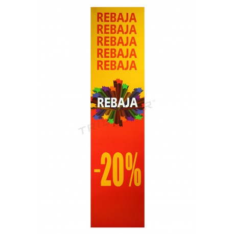 Poster discount, vertical, 20%. Red and yellow, tridecor