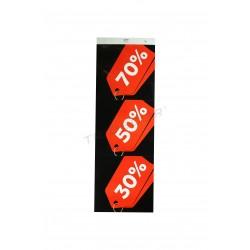 Cartell descomptes, 70%, 50% i 30%, vertical. Vermell, fons negre, tridecor