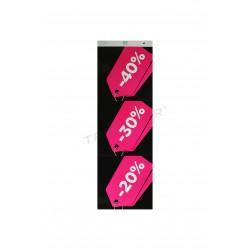 海报折扣、40%、30%和20%的紫红色黑色背景