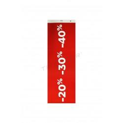 Cartel rebajas para tiendas 20% 30% 40% rojo oscuro