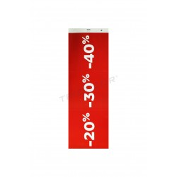 Cartell de vendes per botigues 20% 30% 40% color vermell fosc