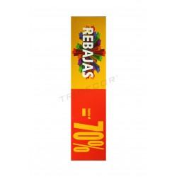 Cartel rebajas 70 %, horizontal. Rojo y amarillo, tridecor