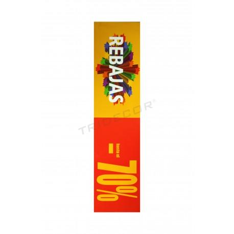 Cartaz saldos 70 %, horizontal. Vermelho e amarelo, tridecor
