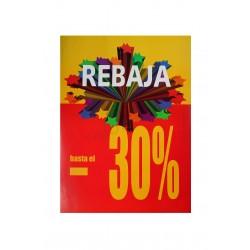 Cartel rebajas para tiendas 30% vertical amarillo/rojo