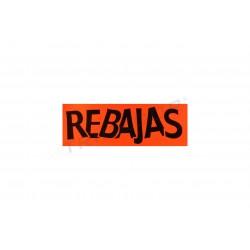 Cartel rebajas para tiendas horizontal naranja 100x35cm