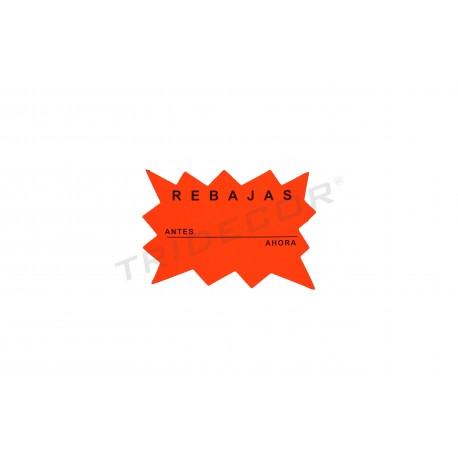 Cartel, Rebajas, Antes y Ahora. Color naranja, tridecor