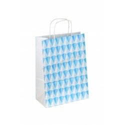 Saco de papel com asa babado estampado de triângulos de cor azul 32x22x12 cm 25 unidades