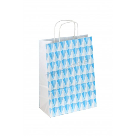 Bolsa de papel con asa rizada estampado de triángulos de color azul de 32x22x12 cm 25 unidades