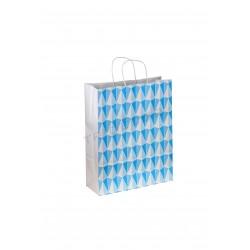 纸袋处理卷曲的图案的三角形40X32X12厘米、蓝色25个单位