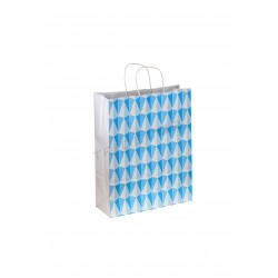Bolsa de papel con asa rizada estampado triángulos 40x32x12cm color azul de 25 unidades