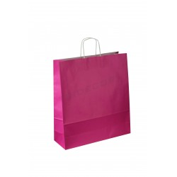 Paper bag with handle ruffled fuchsia color of 49x44x15cm. 25 units