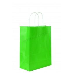 Bolsa de papel con asa rizada color verde claro de 29x22x10 cm 25 unidades