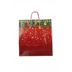 Bolsa de papel con asa rizada con motivos navideños de 45x15x49cm - 25 unidades