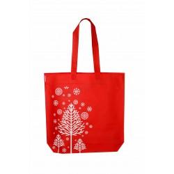 Bolsa de tela de 40x42cm color rojo motivos navideños-12 unidades