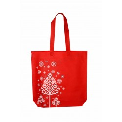 Cloth bag 40x42cm red christmas motifs-12 units