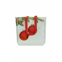 Bolsa tela plastificada, motivos navideños. 40x39 cm. 12 uds, tridecor