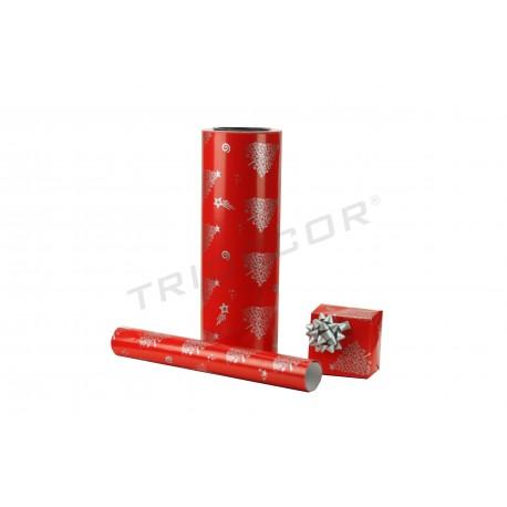Papel de regalo rojo estampado motivos navideños plata 31cm