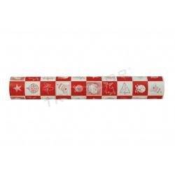 Embrulho de agasallo de papel de nadal motivo cadrado vermello/branco 62cm