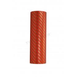 Papel de regalo rojo líneas doradas 31cm