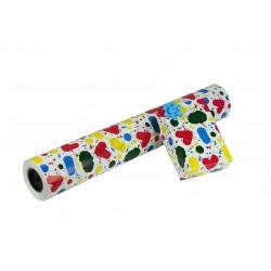 Papel de regalo manchas de colores fondo blanco 62cm