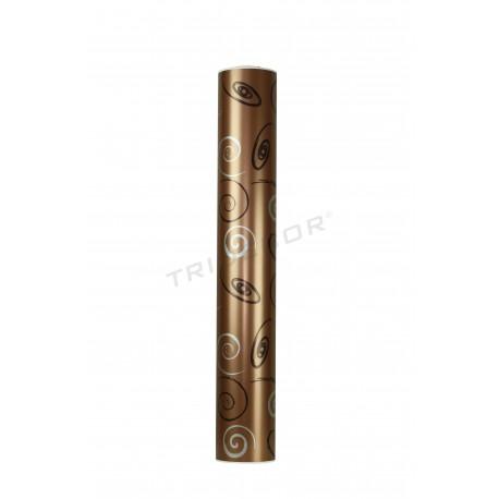 Papel de regalo marrón metálico estampado 62cm