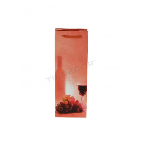 Paper bag with drawstring handle color coral for a bottle of wine 36x13+8.5 cm - 25 units